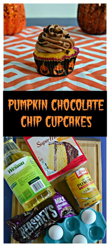 Pin Image: A close up view of a cupcake in a pumpkin wrapper topped with chocolate frosting and chocolate chips with a pumpkin on either side behind it, text overlay, a cutting board with a bottle of vegetable oil, a box of cake mix, a can of pumpkin, chocolate chips, and 3 eggs on it.