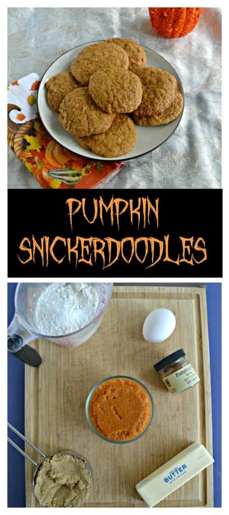 Pin Image: A long white, orange, and yellow napkin with leaves on it topped by a white plate piled high with pumpkin cookies, text overlay, a cutting board topped with a measuring cup filled with flour, an egg, a cup of pumpkin, a sick of butter, and brown sugar in a measuring cup.