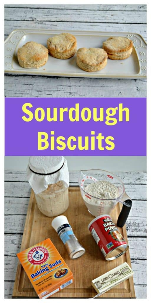Pin Image: A plate lined with four biscuits on a white wooden backdrop, text overlay, a cutting board topped with a sourdough starteer, baking soda, salt, butter, and flour.