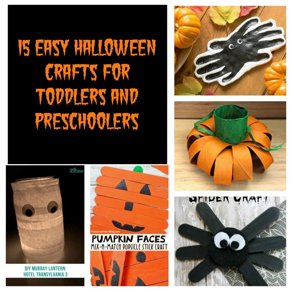 Pin Image: Text Overlay, a photo of a clay spider that is painted black, an orange paper pumpkin, a black craft stick spider, an orange craft stick pumpkin, and a toilet paper ghost lantern.