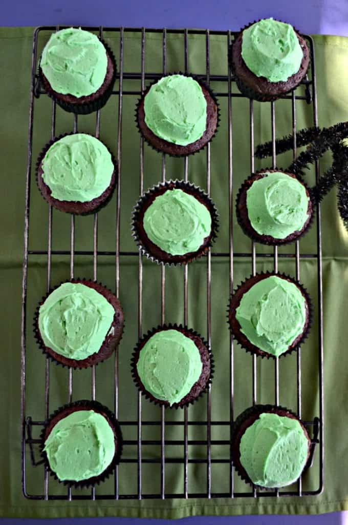 A green background with a wire cooling rack on it and 12 chocolate cupcakes topped with green frostin gand a sider peeking in from the right.