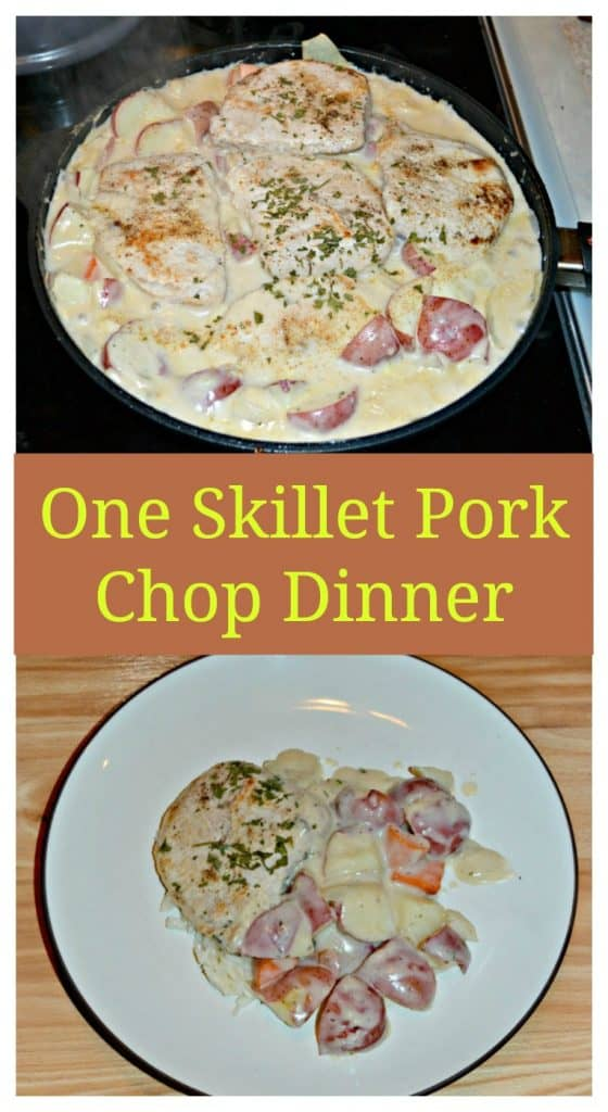Pin Image: A skillet filled with white gravy and pork chops, red potatoes, and carrots peaking out from the gravy, text overlay, A white plate with a single browned pork chop on it along with red skinned potatoes and carrots in a white gravy.