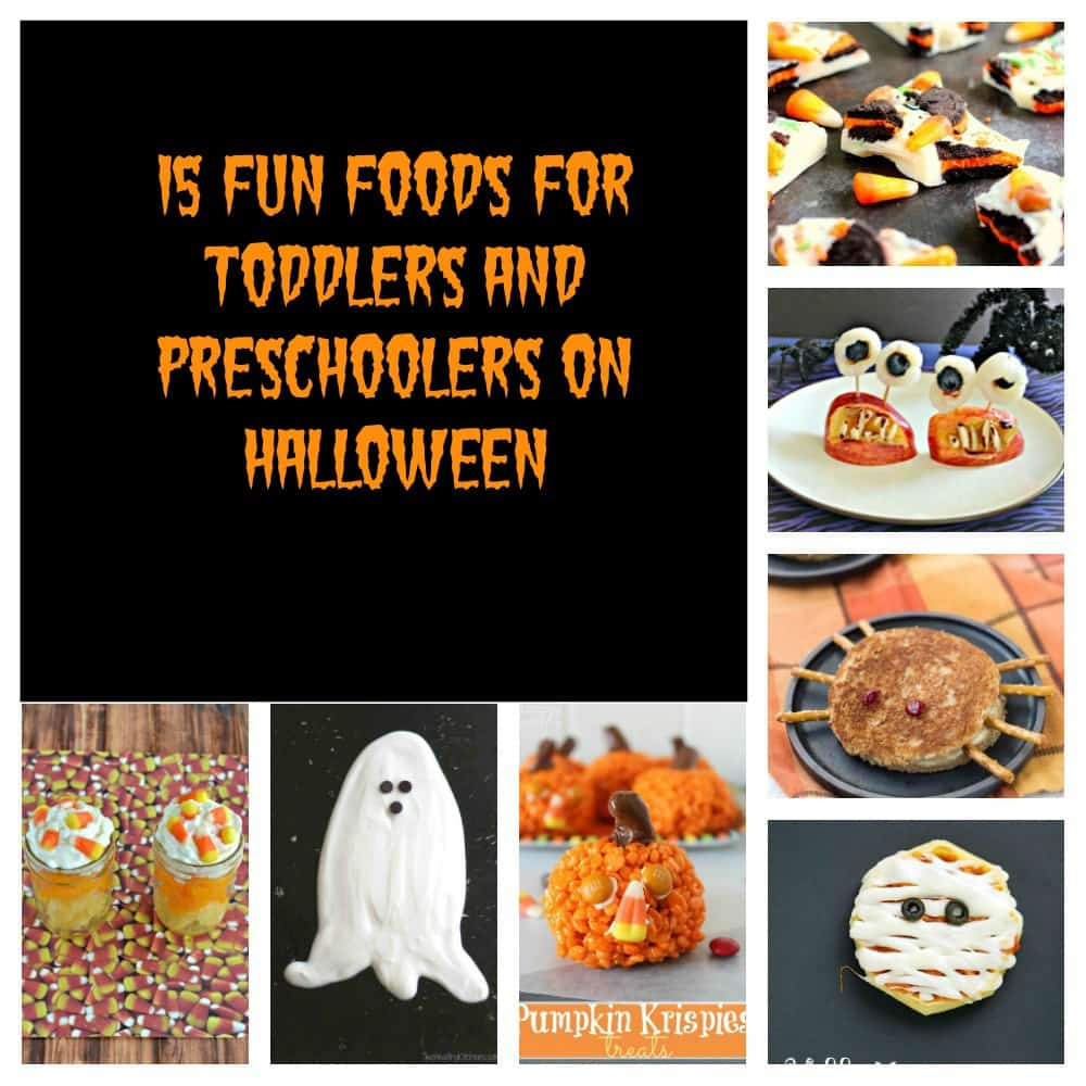 Pin Image: Upper left half of the photo is a black backgroundn with orange text that is surrounded by photos. Starting at top right it is broken pieces of Halloween bark, Halloween Monster mouths made from apples and lychees, a grilled cheese that looks like a spider, mini pizzas that look like mummies, rice Krispies pumpkins, a large white ghost fruit dip, and yellow, orange, and white fruit parfaits.
