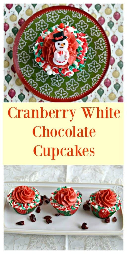 Pin Image: A red, white, and green circular plate with a cupcake in the middle. The cupcake has white frosting and sprinkles around the edges, red frosting in the middle, and a candy snowman in the middle, text overlay, a white platter with three cupcakes on it with sprinkles around the edges and red frosting piped in the middle with cranberries sprinkles around them.