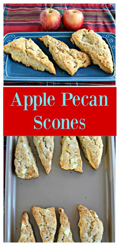 Pin Image: A blue platter with three large, golden brown scones on it on a red plaid background with two apples in the back, text overlay, a baking sheet with 8 scones on it, two rows of 4.