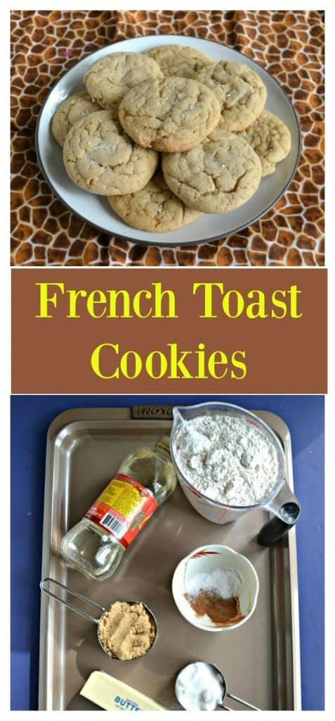Pin Image: A white plate topped with French Toast Cookies on a brown animal print background, text overlay, a cookie sheet topped with a measuring cup of flour, a bottle of corn syrup, a small bowl of spices, a stick of butter, and a cup of sugar.