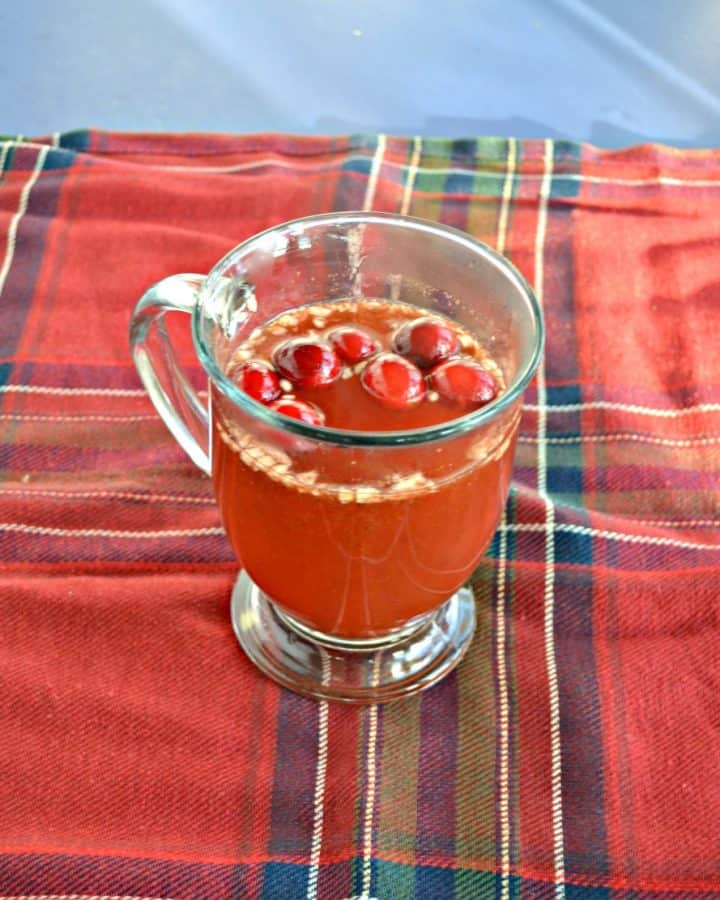 A clear mug filled with red liquid and cranberries floating on top on a red and green plaid tablecloth.