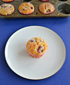 A white dessert plate with a golden brown muffin studded with purple grapes in the middle of it with a muffin tins filled with more muffins behind it on a blue background.