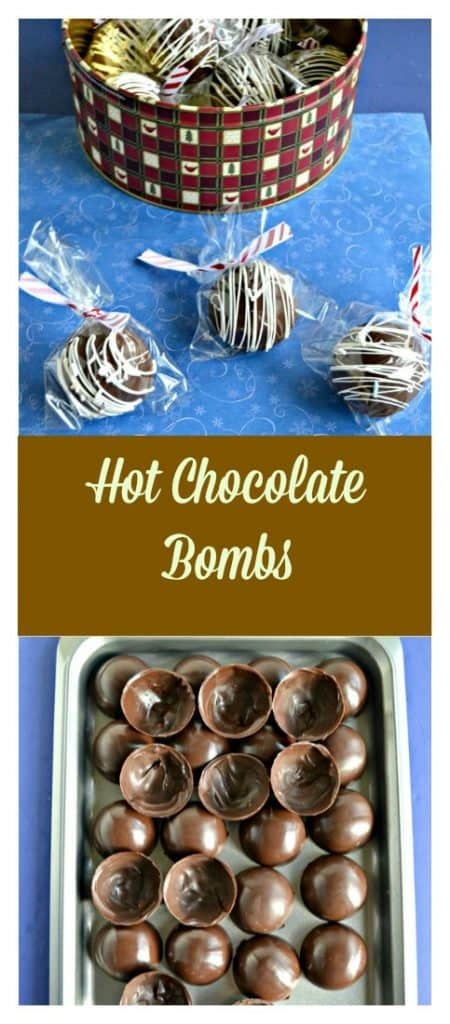 Pin Image: A tin filled with chocolate bombs with three wrapped chocolate spheres drizzled with white chocolate, wrapped in a plastic baggie, and tied with a red and white ribbon in the front, text overlay, a sheet pan filled with chocolate spheres.