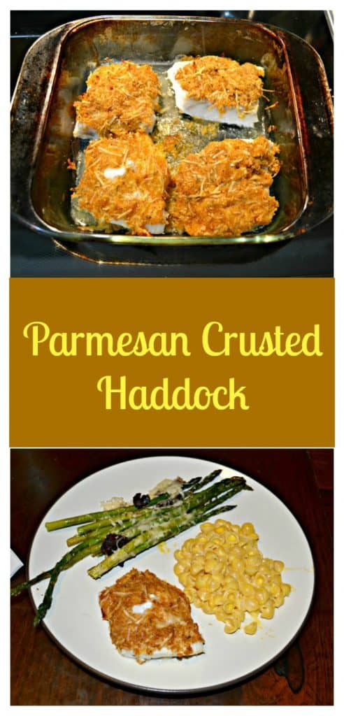 Pin Image: A baking dish with four fish filets with golden brown topping on each, text overlay, A white dinner plate with green asparagus in the upper left corner, yellow macaroni and cheese on the right side, and a piece of golden brown fish in the bottom left.
