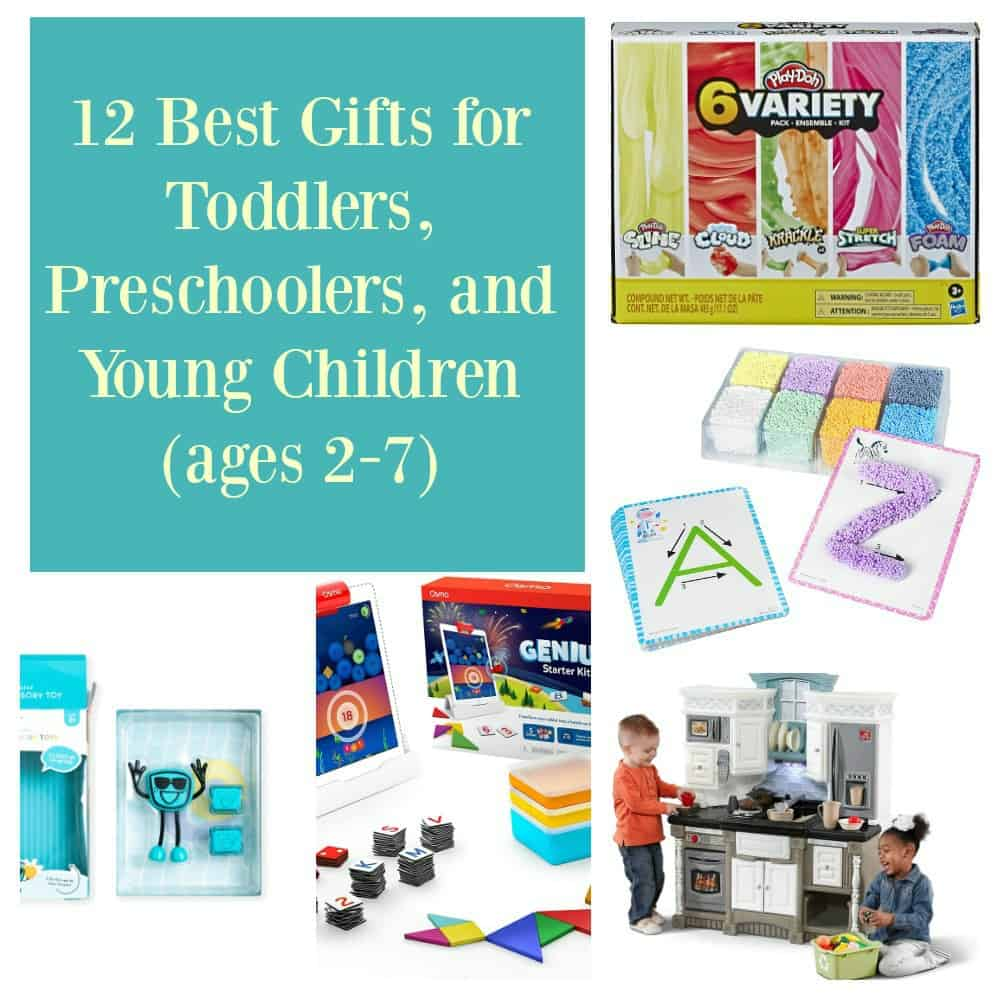 Pin Image: Text overlay, five photos of best gifts for toddlers: a blue light up glo pal, an Osmo starter kit with ipad, tangrans, and box, a play kitchen set with two kids playing in it, a box divided into 8 sections with 8 colors of play foam and 2 letter cards A and Z, and a box of play Doh