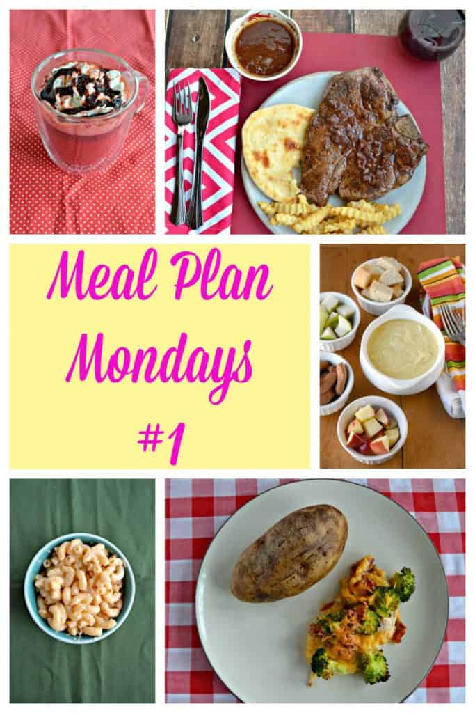 Pin Image: Collage with a mug of red velvet hot cocoa topped with whipped cream and a chocolate drizzle, a white plate topped with a huge porterhouse steak topped with red wine sauce and served with fries on the side, text overlay, five white bowls filled with yellow cheese fondue, bread cubes, crackers, and other dippers, a blue bowl filled with creamy yellow mac and cheese, a circluar plate with a baked potato on it along with a chicken breast topped with broccoli, bacon, and cheese.