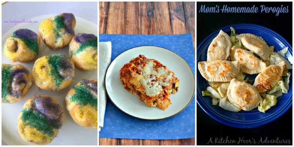 Pin Image: Collage with a plate of Mini King Cake bites with purple, yellow, and green sprinkles, a playe of meat and vegetable lasagna, and a skillet filled with homemade pierogies.