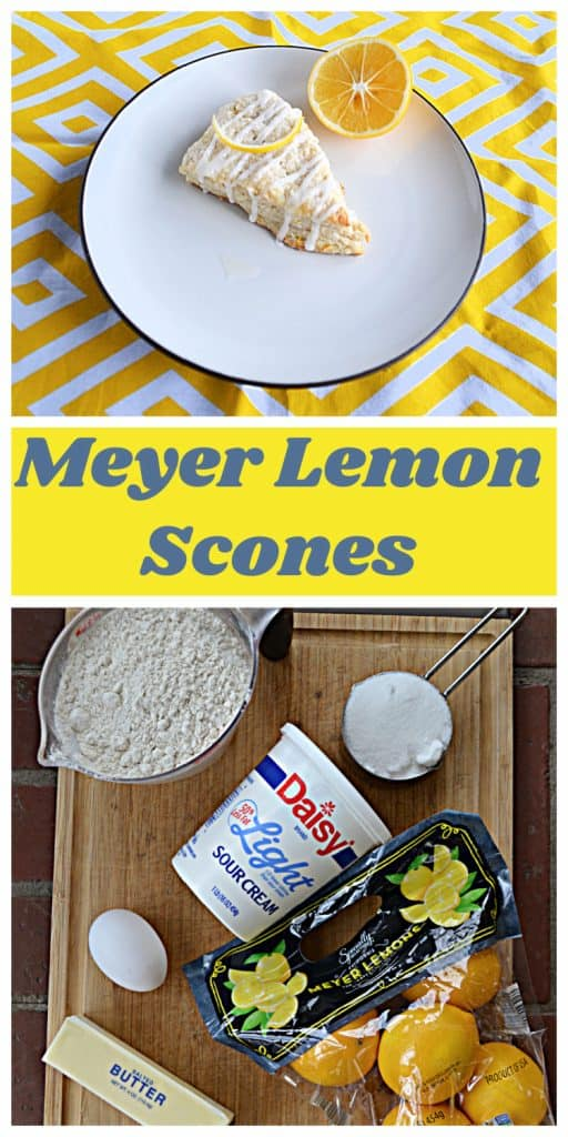 Pin Image: A large Meyer Lemon Scone on a white plate with a slice of lemon on a yellow and white background, text overlay, a cutting board topped with a conatiner of sour cream, a cup of flour, a bag of lemons, an egg, and a stick of butter.