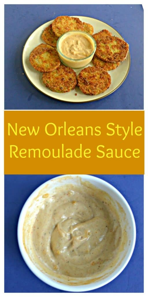 Pin Image: A white plate piled high with fried green tomatoes and a glass bowl of light orange remoulade sauce in the middle on a blue background, text overlay, A white bowl filled with light orange remoulade sauce on a blue background.