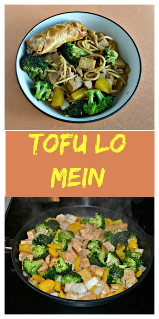Pin Image: A large bowl filled with tofu, broccoli, and noodles with a golden brown eggroll in the upper right corner all on an orange background, text overlay, a pan with tofu, broccoli, and noodles cooking in a brown sauce.