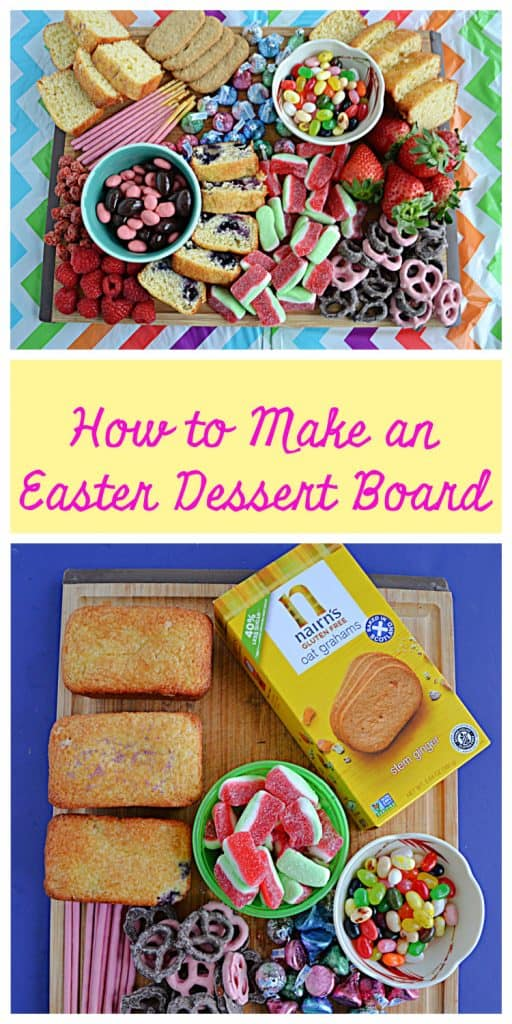 Pin Image: A colorful pastel dessert board filled with candies, cookies, fruits, and quick breads in Easter colors, text, a cutting board with mini breads, a box of graham crackers, bowls of candy, and other sweet treats in pastel colors.
