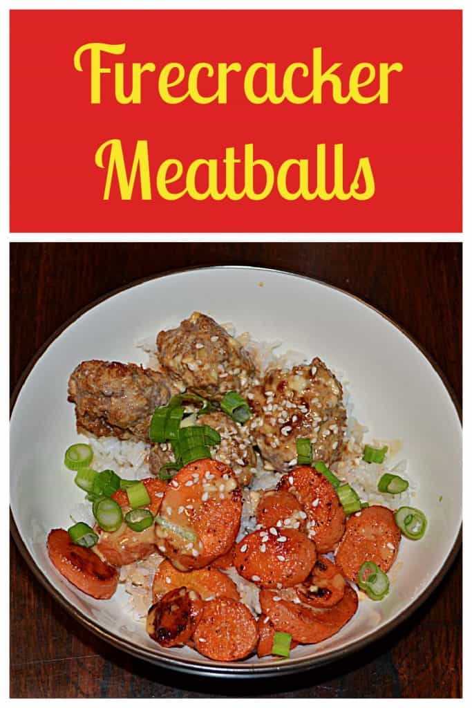 Pin Image: Text, a bowl filled with rice, Firecracker meatballs, roasted carrots, and scallions.