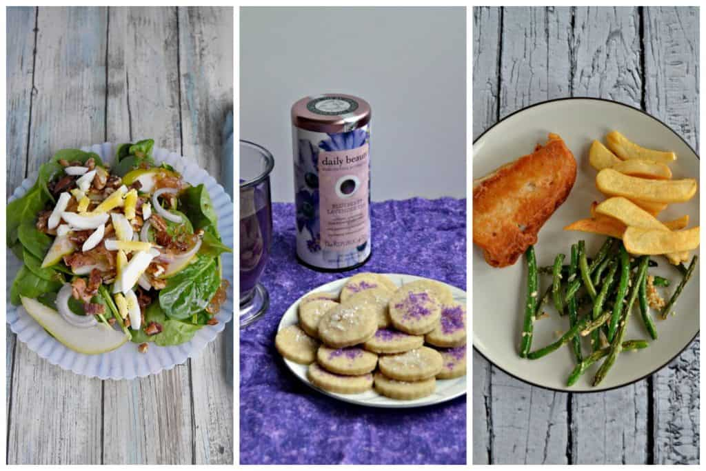 Pin Collage: A plate of salad topped with pears, a plate of cookies topped with purple sprinkle and a canister of tea behind it, and a playe of crispy fried fish, french fries, and green beans.