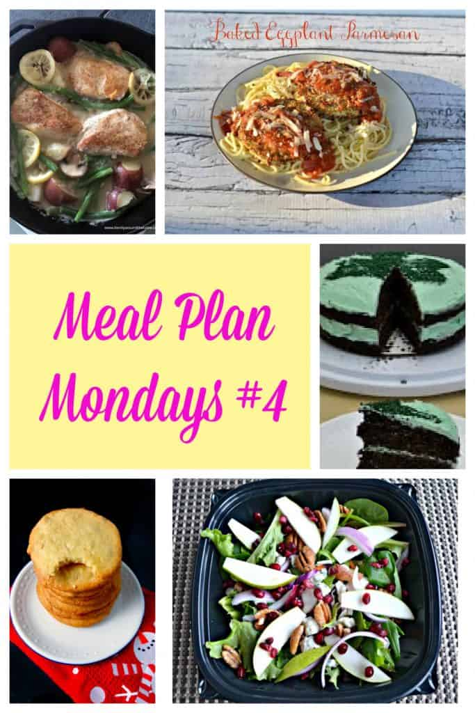 A collage: A skillet with chicken, potatoes, and green beans in it, a plate piled with spaghetti and topped ith eggplan parmesan, text, a chocolate cake with green frosting and sprinkle shamrock on top, a stack of cookies on a plate, a plate with a winter salad in it topped with red onions, pecans, and pears.
