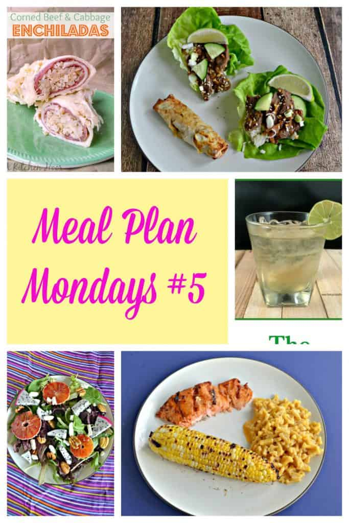 Photo Collage: Corned Beef and Cabbage wrapped in a tortilla, a plate with lettuce wraps filled with Beef Bulgogi and an egg roll on the side, text, an Irish cocktail with a lime wedge on the glass, a plate with a salad on it topped off with bright pink dragon fruit and nuts, and a plate with BBQ salmon, mac n cheese, and an ear of corn on it.