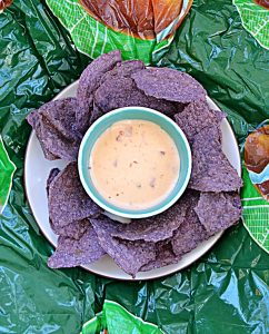 A plate of blue tortilla chips with a bowl of creamy queso in the middle of the plate.