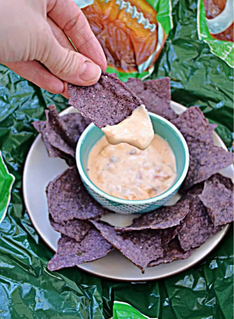 A plate of blue tortilla chips with a bowl of creamy queso in the middle and a hand dipping a chip into the queso.
