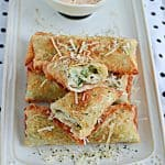 Spinach Artichoke Dip Appetizer Egg Rolls with Spicy Parmesan Ranch Dipping Sauce