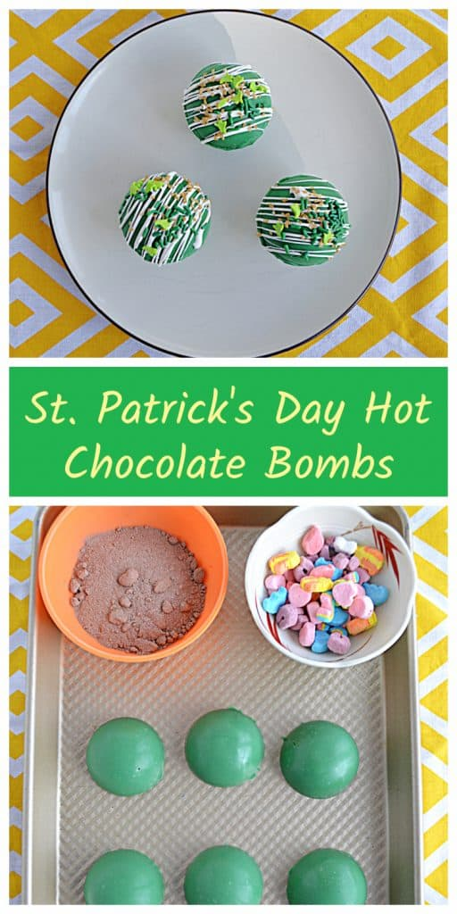 Pin Image: A plate with three green Hot Chocolate Bombs on it on a yellow background, text, a cutting board with a bowl of hot cocoa mix, a bowl of colorful marshmallows, and green chocolate spheres.