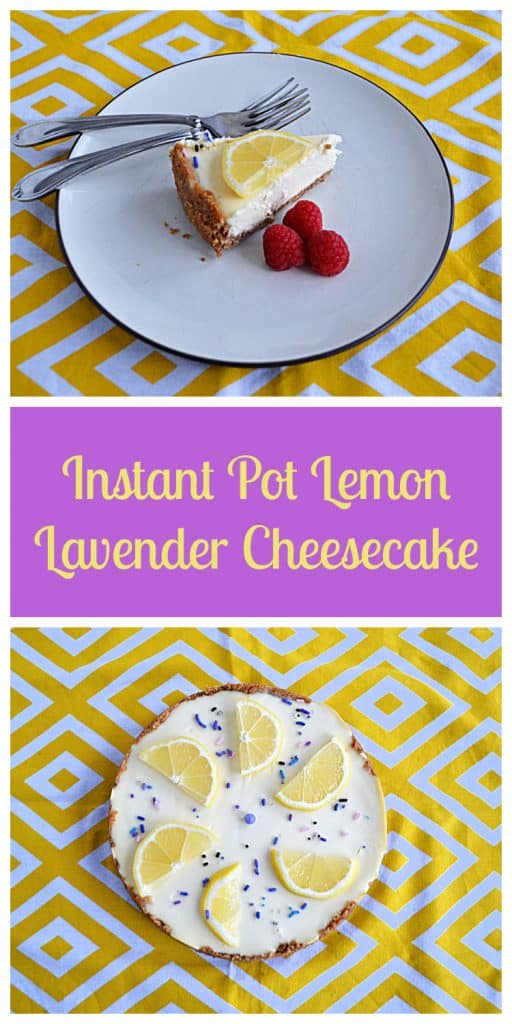 Pin Image: A plate topped with a sliced of lemon lavender cheesecake with a lemon slice on top, three raspberries on the side, and two forks on the plate, text, A cheesecake topped with lemon slices and purple sprinkles.