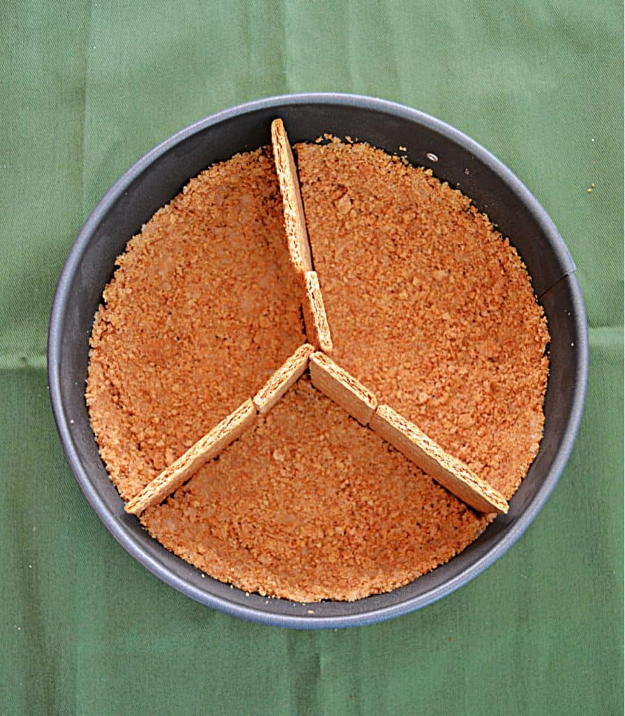 A springform pan with a graham cracker crust and graham cracker dividers.