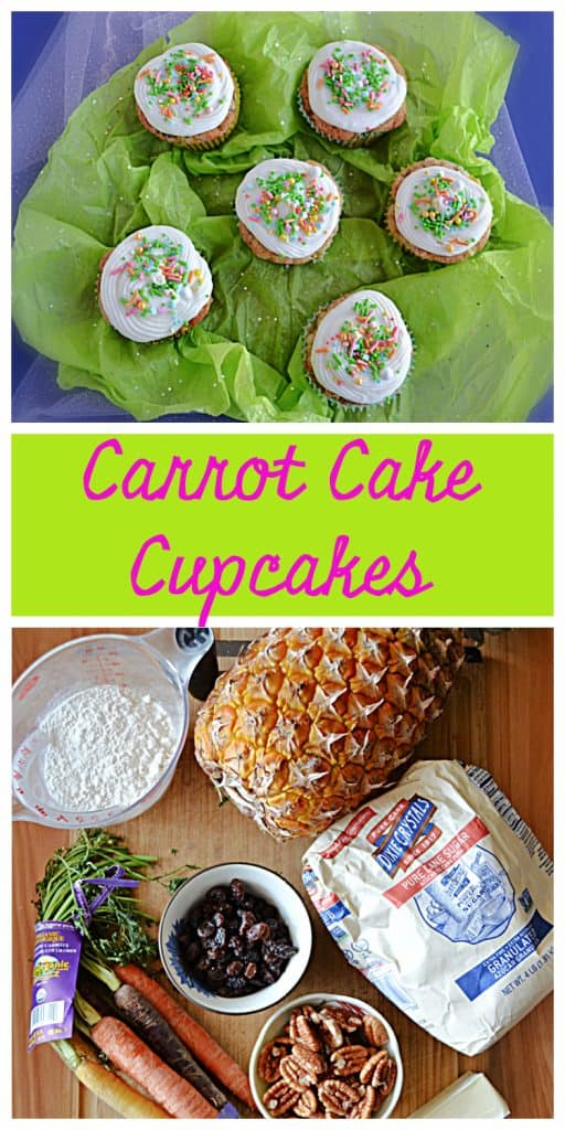 Pin Image: Six carrot cake cupcakes topped with cream cheese frosting and sprinkles on a green background, text, a cutting board topped with a pineapple, a cup of flour, a bag of sugar, tri-colored carrots, a cup of raisins, a bowl of pecans, and a stick of butter.
