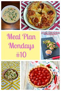 Pinterest Collage: A bowl of Lemony Greek Chicken Soup, a plate with an Air Fryer pita pizza on it, text, a platter of shrimp kabobs, a bowl of lemon pasta, a fresh strawberry pie in a pie pan.