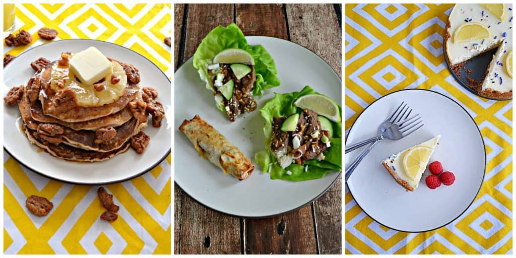 Pinterest Collage: A plate stacked with hummingbird pancakes with sprinkled pecans and a pat of butter on top, a plate with Beef Bulgogi Lettuce wraps and an egg roll on it, A plate with a slice of Instant Pot lemon lavender cheesecake on it with the whole cheeseccake in the corner.