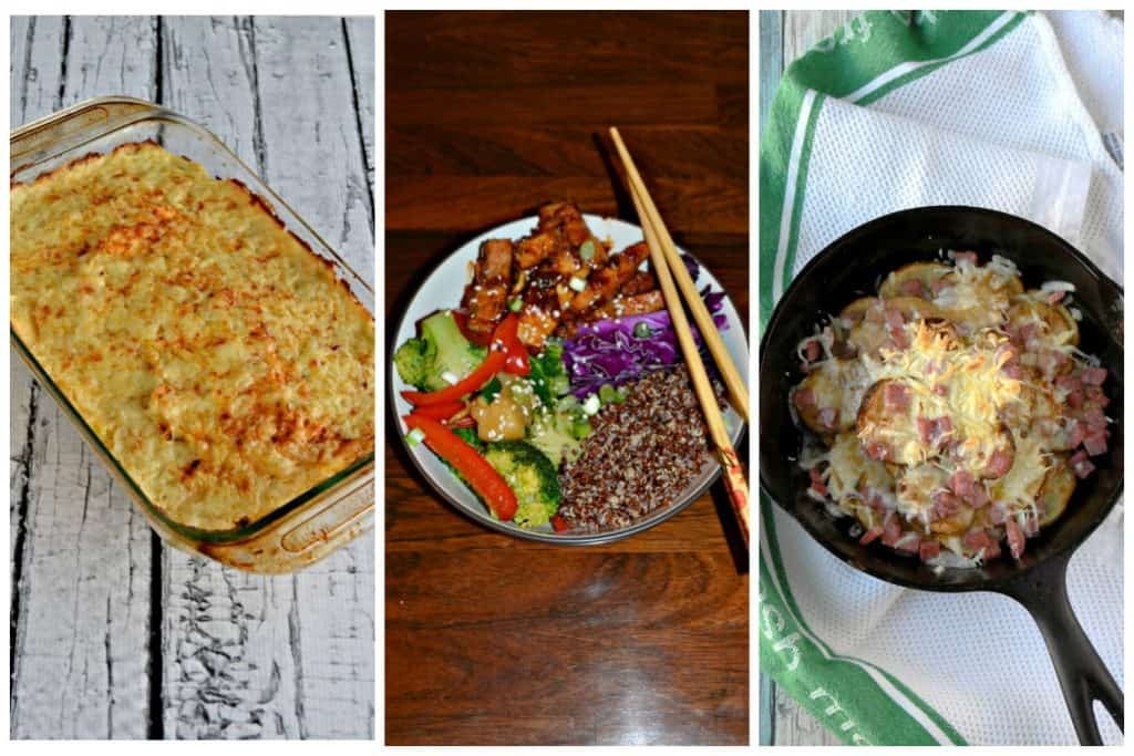 Picture collage: A pan filled with Colcannon: A Traditional Irish Side DIsh, a tofu bowl filled with a rainbow of vegetables, tofu, and rice, a skillet with Irish nachos in it.