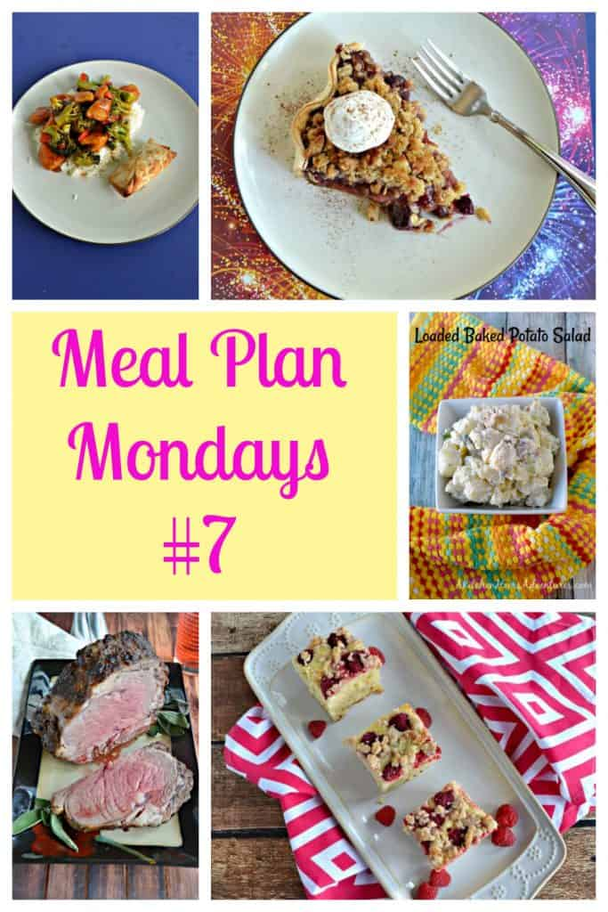 Pin Image: Bourbon Chicken stir fry and rice, a slice of cherry rhubarb pie topped with whipped cream, text, a bowl of potato salad, a platter with a beef roast cut open with a slice of beef, a platter with three slices of raspberry coffee cake.