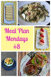 Pin Image: A platter with slices of lemon bread on it, a plate with paste salad and asparagus on it, text, a platter with lemon strawberry cupcakes, a small bowl of cauliflower and broccoli with cheese, and a large burger topped with bacon.