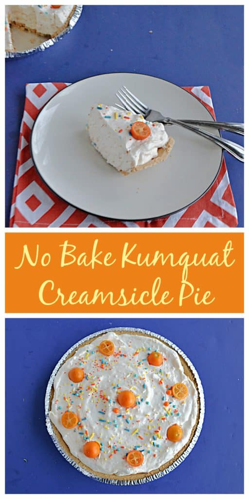 Pin Image: A plate with a slice of No Bake Kumquat Pie on it with two forks and the whole pie minus one slice peaking out from the corner, text, No Bake Kumquat Pie is topped with whipped cream and little kumquats and sprinkles.