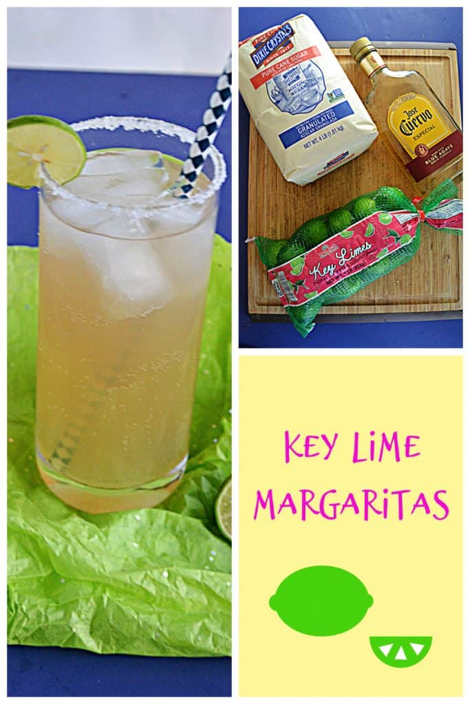 Pin Image: A glass of key lime margarita on the rocks with a lime wedge and salt on the rim and a straw in the glass, a cutting board with a bag of sugar on it, a bottle of tequila, and a bag of key limes, text.