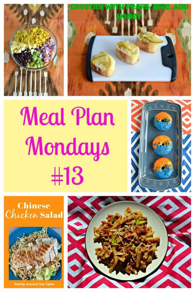 Pin image: A bowl filled with vegetables for Mexican pasta salad, a cutting board with three slices of bread topped with pears, text, a platter with three donuts in orange and blue glaze, a plate piled high with lettuce topped with chicken, and a plate a pasta salad.