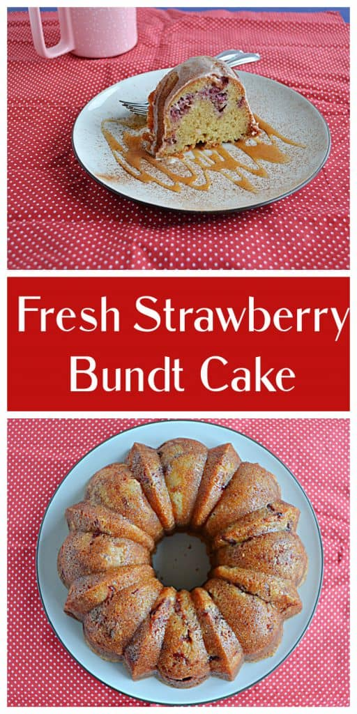 Pin Image: A slice of strawberry Bundt cake on a plate drizzled with caramel and two forks, text, A Bundt Cake