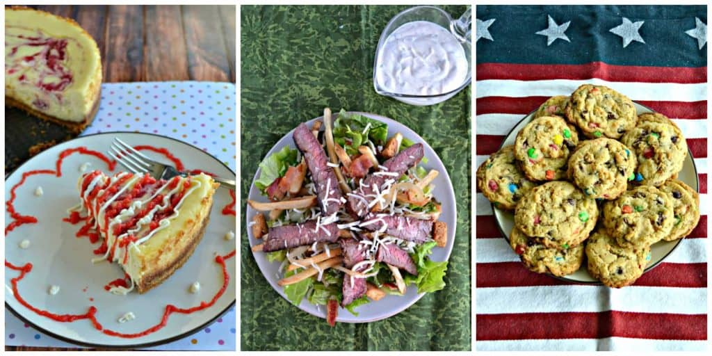 Pin image: A plate with a sslice of cheesecake topped with a strawberry drizzle, a plate topped with steak salad and a side of homemade Ranch, a plate of M&M's cookies on a red, white, and blue background.