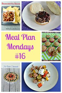 Pin Image: A plate filled with tortilla chips and bruschetta salsa, a plate with a burger topped with Blueberry BBQ Sauce, rows of honey rhubarb muffins on a green background, text, a no bake cheesecake topped with strawberries and blueberries, and a plate with a pile of rice topped with Greek chicken and vegetables.