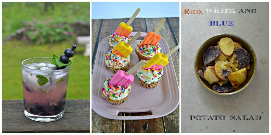 Collage: A blueberry mojito, cupcakes with candy popsicles on top, red, white, and blue potato salad