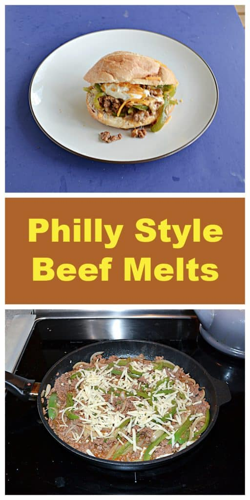 Pin Image: A plate with a sub roll stuffed with beef, peppers, and cheese on it, text, A skillet full of ground beef, peppers, and onions and topped with cheese.