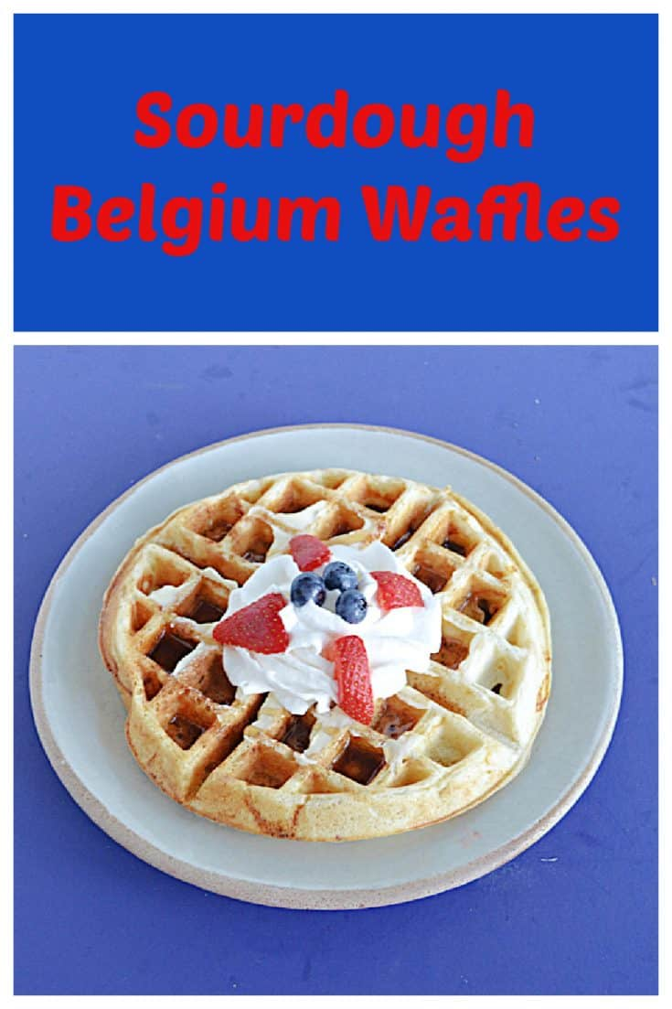 Pin image: Text, A plate with a Belgium waffle topped with whipped cream, blueberries, and strawberries.
