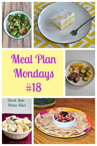 Pin Image: a bowl of broccoli and tofu, a plate with a slice of lemon poke cake and a fork, a plate with steak, potatoes, and parmesan zucchini, text, a tray with cinnamon tortilla chips and fruit berry salsa, a bowl of Greek potato salad.
