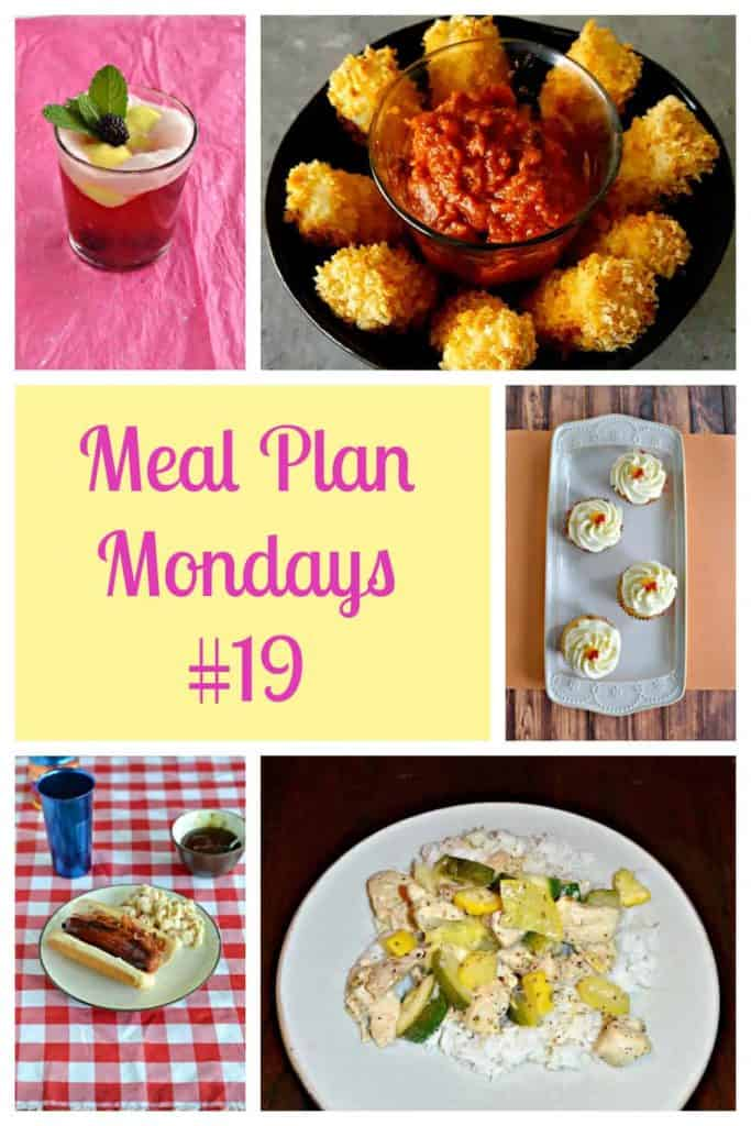 Pinterest Image: A glass with a berry cocktail float, a plate with baked mozzarella sticks, a platter with caramel vanilla cupcakes, text, a plate with a grilled sausage topped with bacon and BBQ sauce, a plate with lemon chicken, zucchini, and squash over rice.
