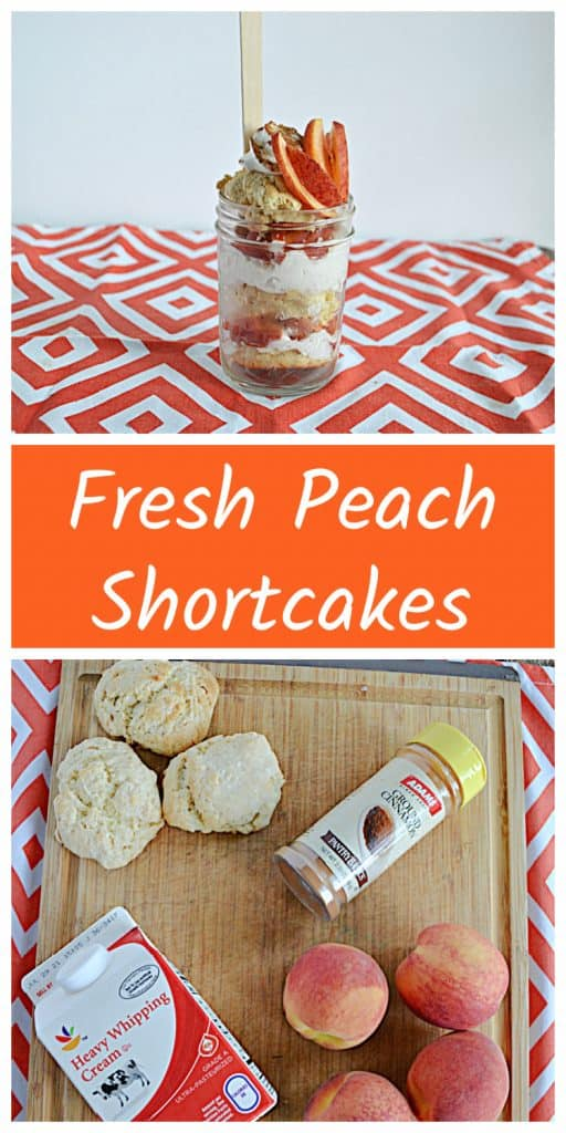 Pin Image: A jar layered with cinnamon whipped cream, fresh peaches, and sweet biscuits with peaches on top and a spoon sticking out of the jar, text, a cutting board with three biscuits, a jar of cinnamon, four peaches, and a carton of heavy cream on it.
