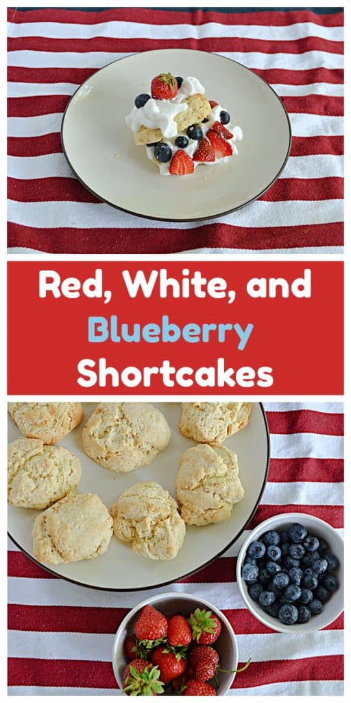 Pin Image: A plate stacked with biscuits, whipped cream, and berries, text, a plate of biscuits, a bowl of strawberries, and a bowl of blueberries.